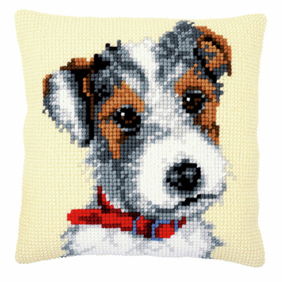 Dog with Red Collar Printed Cross Stitch Cushion Kit by Vervaco