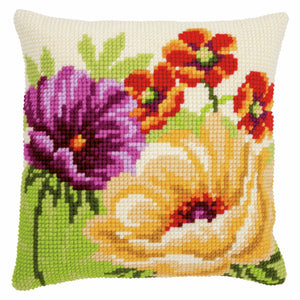 Summer Flowers Printed Cross Stitch Cushion Kit by Vervaco
