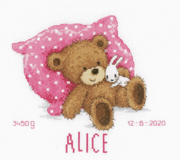 Sweet Bear Birth Sampler Cross Stitch Kit By Vervaco