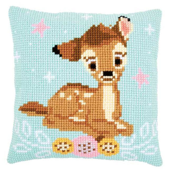 Bambi Printed Cross Stitch Cushion Kit by Vervaco