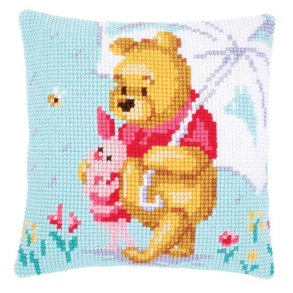 Winnie in the Rain Printed Cross Stitch Cushion Kit by Vervaco