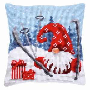 Christmas Gnome Printed Cross Stitch Cushion Kit by Vervaco