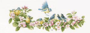 Blue Tits and Blossoms Cross Stitch Kit By Lanarte