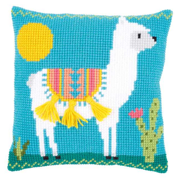 Llama Printed Cross Stitch Cushion Kit by Vervaco