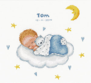 Sleeping Baby on Cloud Birth Sampler Cross Stitch Kit By Vervaco