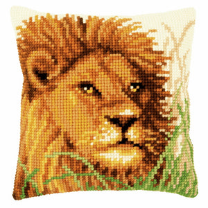 Lion Printed Cross Stitch Cushion Kit by Vervaco