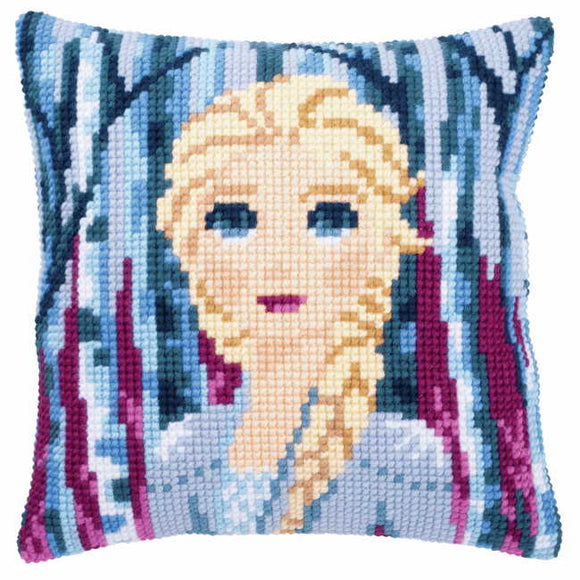 Elsa Printed Cross Stitch Cushion Kit by Vervaco