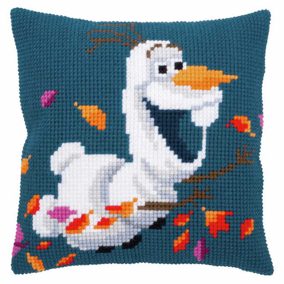 Olaf Printed Cross Stitch Cushion Kit by Vervaco
