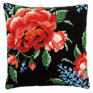 Rose Printed Cross Stitch Cushion Kit by Vervaco