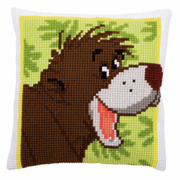 Baloo Printed Cross Stitch Cushion Kit by Vervaco