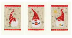 Christmas Gnomes Cross Stitch Christmas Card Kit By Vervaco