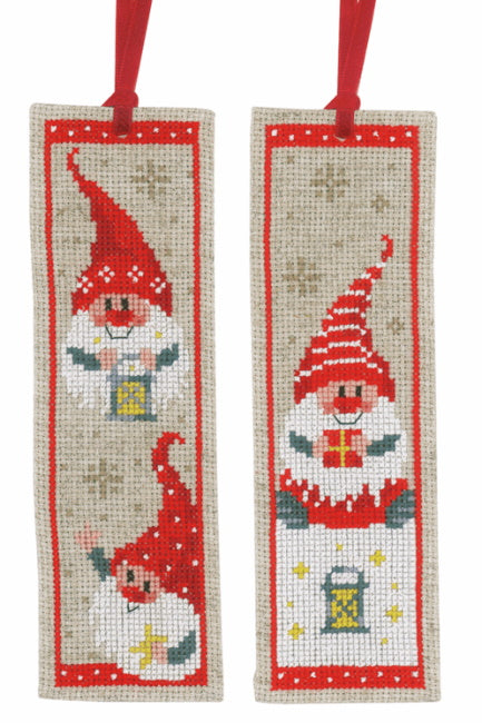 Christmas Gnomes Bookmark Cross Stitch Kit By Vervaco