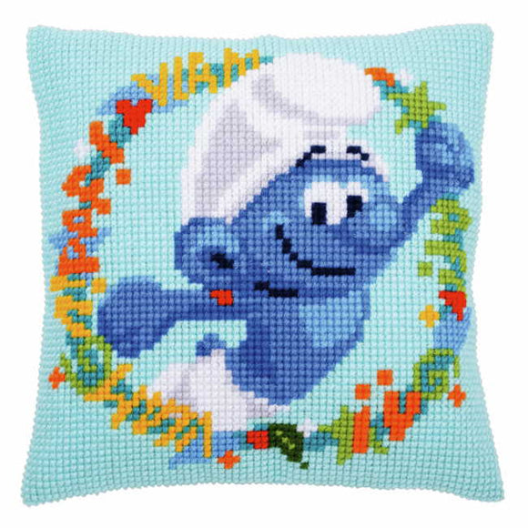 Hefty Smurf Printed Cross Stitch Cushion Kit by Vervaco