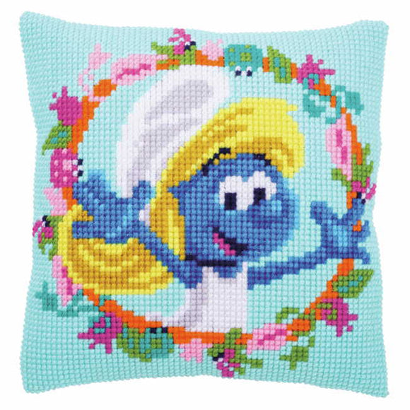 Smurfette Smurf Printed Cross Stitch Cushion Kit by Vervaco