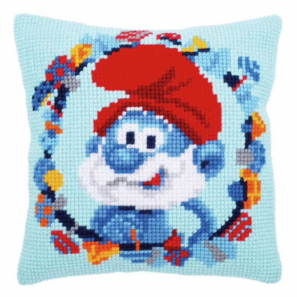 Papa Smurf Printed Cross Stitch Cushion Kit by Vervaco