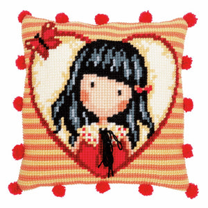 Time to Fly Gorjuss Printed Cross Stitch Cushion Kit by Vervaco