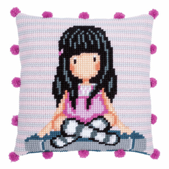 The Words Gorjuss Printed Cross Stitch Cushion Kit by Vervaco