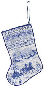 Village Traditional Christmas Stocking Cross Stitch Kit by PANNA