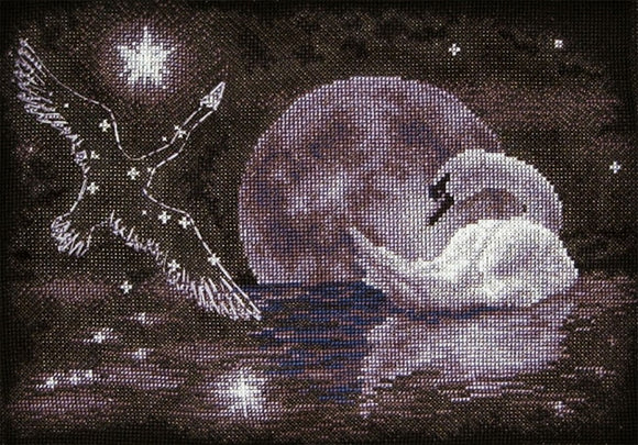 Moonlight Swan Cross Stitch Kit by PANNA