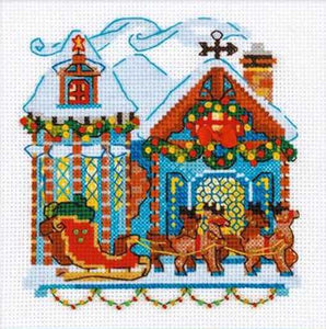Cabin with Sleigh Cross Stitch Kit By RIOLIS
