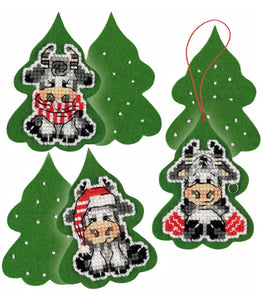 Three Calves Christmas Decorations Cross Stitch Kit By RIOLIS