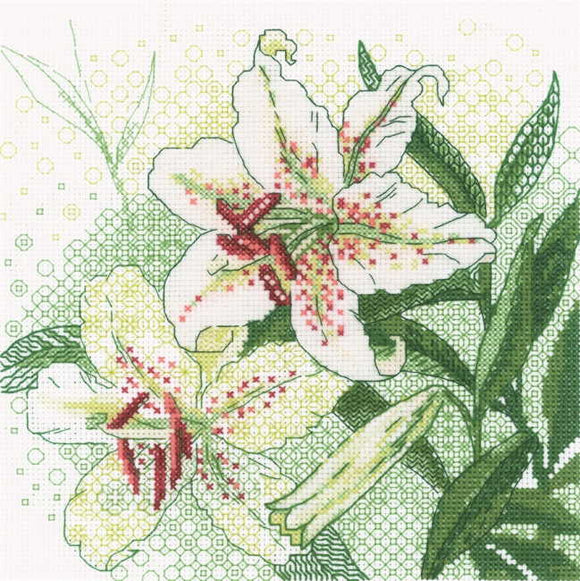 White Lilies Blackwork Kit By RIOLIS