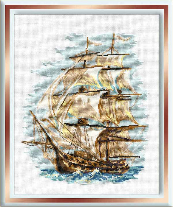 Ship Cross Stitch Kit By RIOLIS