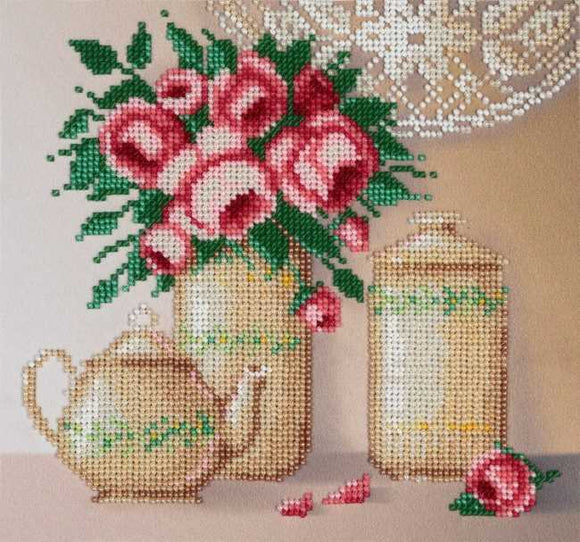 Roses and Porcelain Bead Embroidery Kit by VDV