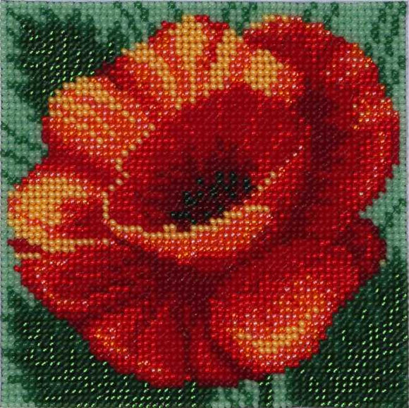 Red Poppy Bead Embroidery Kit by VDV