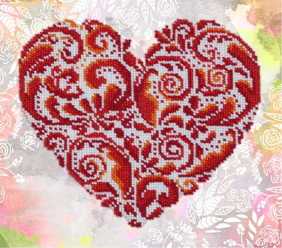 Heart Shaped Lace Bead Embroidery Kit by VDV