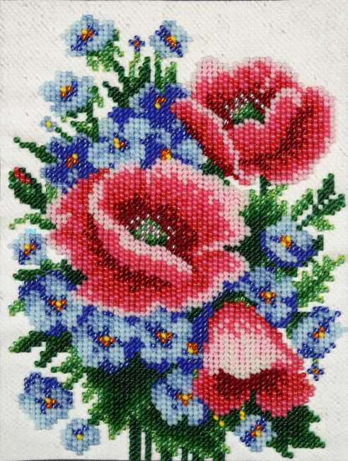 Poppies and Cornflowers Bead Embroidery Kit by VDV