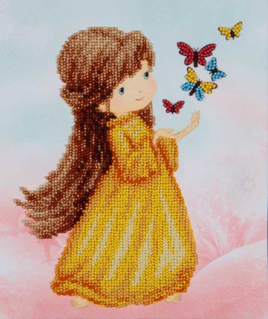 Girl with Butterflies Bead Embroidery Kit by VDV