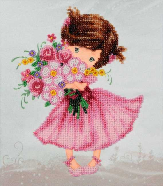 Girl with Bouquet bead embroidery kit by vdv