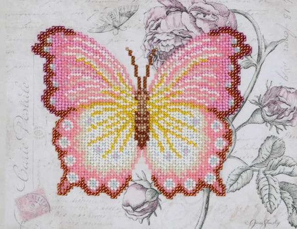 Pink Butterfly Bead Embroidery Kit by VDV