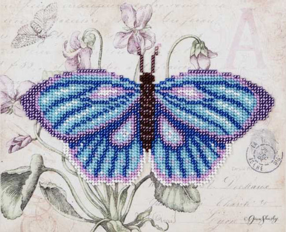 Blue Butterfly Bead Embroidery Kit by VDV
