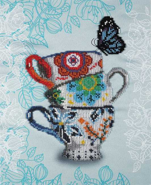 Elegant Tea Ceremony Bead Embroidery Kit by VDV