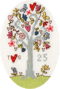 Silver Celebration Cross Stitch Card Kit By Bothy Threads