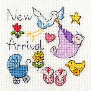 New Baby Cross Stitch Card Kit By Bothy Threads
