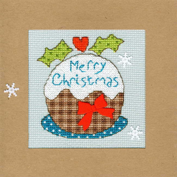 Snowy Pudding Cross Stitch Christmas Card Kit by Bothy Threads