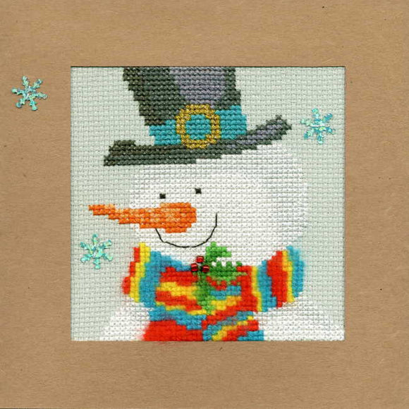 Snowy Man Cross Stitch Christmas Card Kit by Bothy Threads