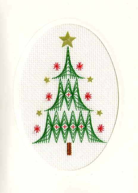 Christmas Tree Cross Stitch Christmas Card Kit by Bothy Threads
