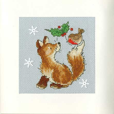 Christmas Friends Cross Stitch Christmas Card Kit by Bothy Threads