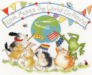 Love Makes the World Go Round Cross Stitch Kit By Bothy Threads