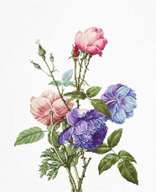 Bouquet With Rose and Peony Cross Stitch Kit by Luca S