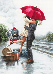 Couple on the Station Cross Stitch Kit by Luca S