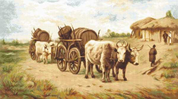 Cart with Oxen Cross Stitch Kit by Luca S