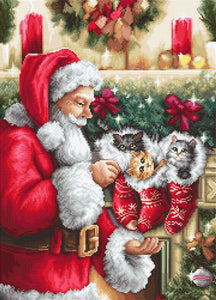 Santa Claus and Kittens Cross Stitch Kit by Luca S
