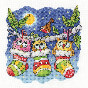 A Christmas Hoot Cross Stitch Kit by Heritage Crafts