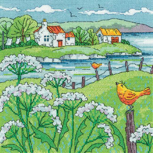 Cow Parsley Shore Cross Stitch Kit by Heritage Crafts