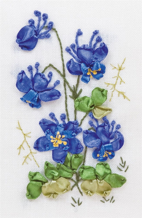 Columbine Ribbon Embroidery Kit by PANNA